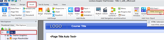 """Insert an """"External HTML"""" object into the course"""