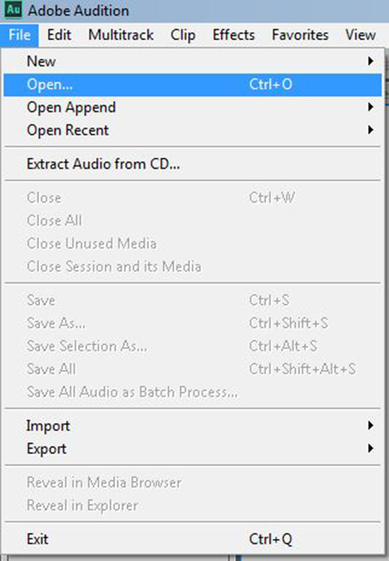 Open audio file