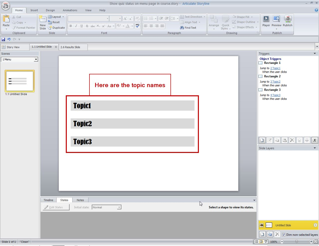 Create a menu page