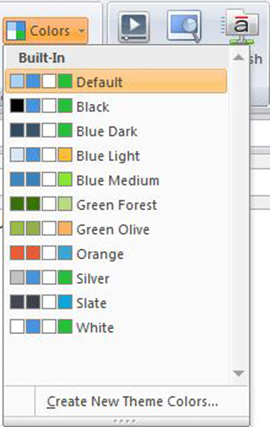 Colors and Effects Settings