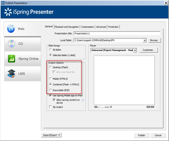 Publish settings of iSpring