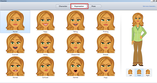 Screenshot of a few expressions available in the tool
