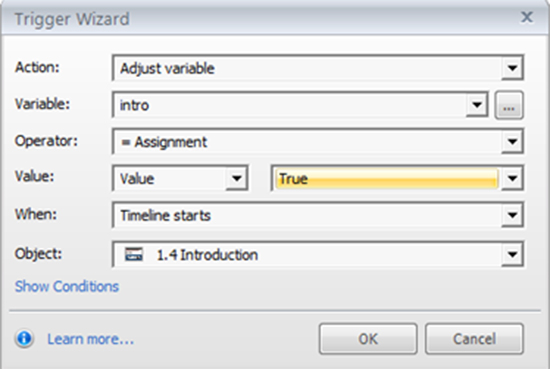 Adjust each variable to the value