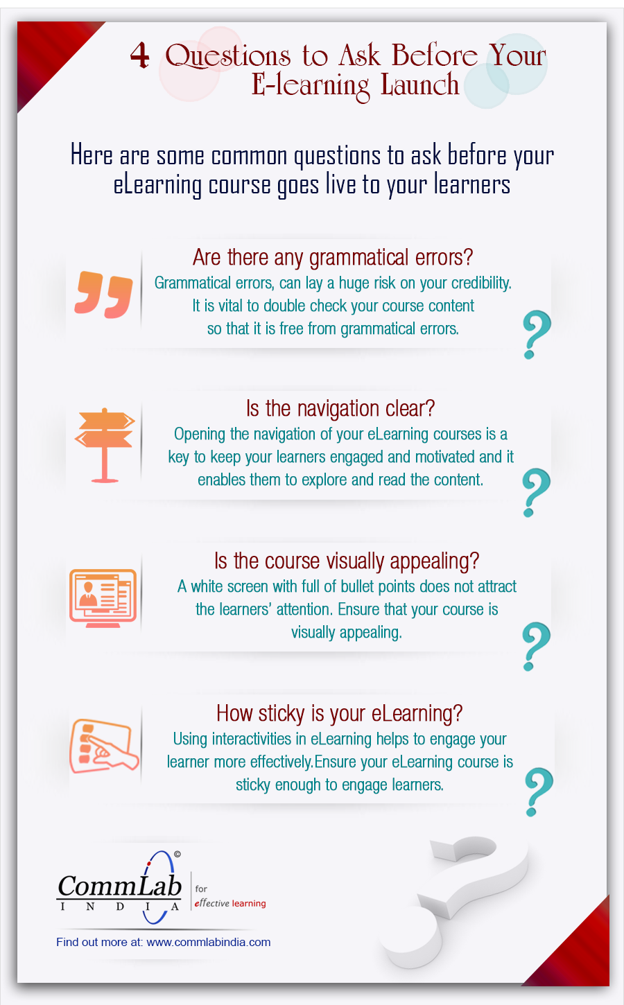 4 Questions You Need to Ask Before You Launch an E-learning Course – An Infographic