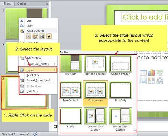 Slidelayouts in presentation