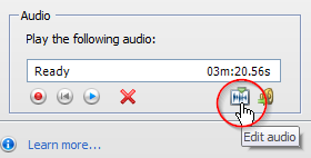 Click on the edit audio icon