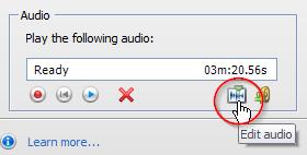 Click on the edit audio icon