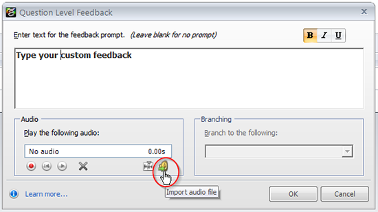 Select the import audio file