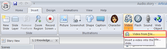 Select the video from file option