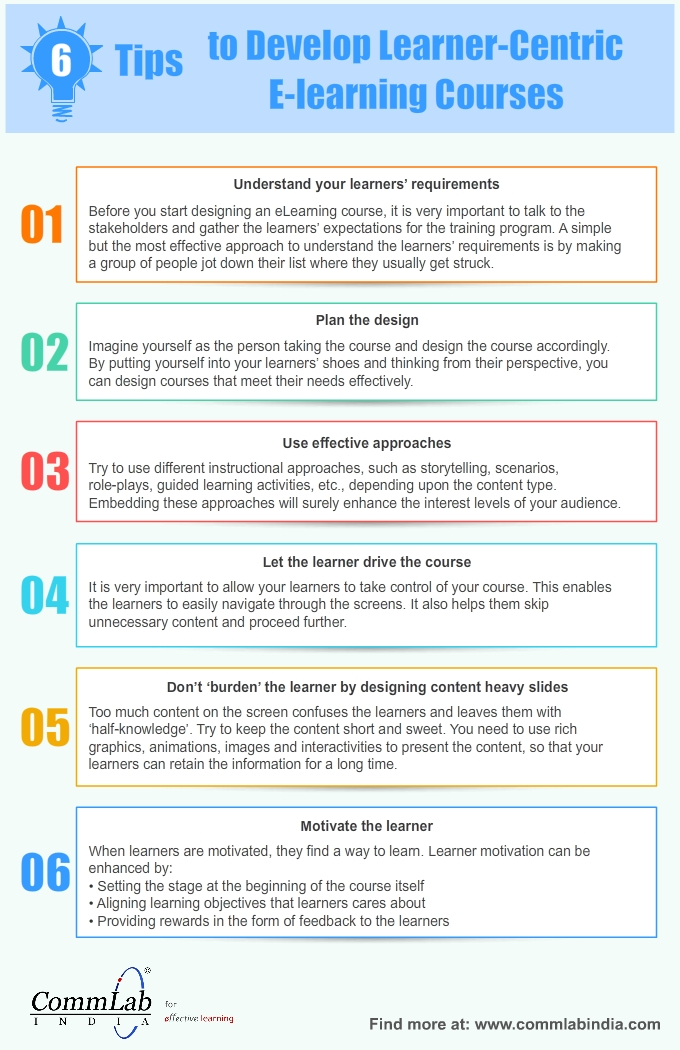 6 Tips to Develop Learner-Centric E-learning Courses – An Infographic