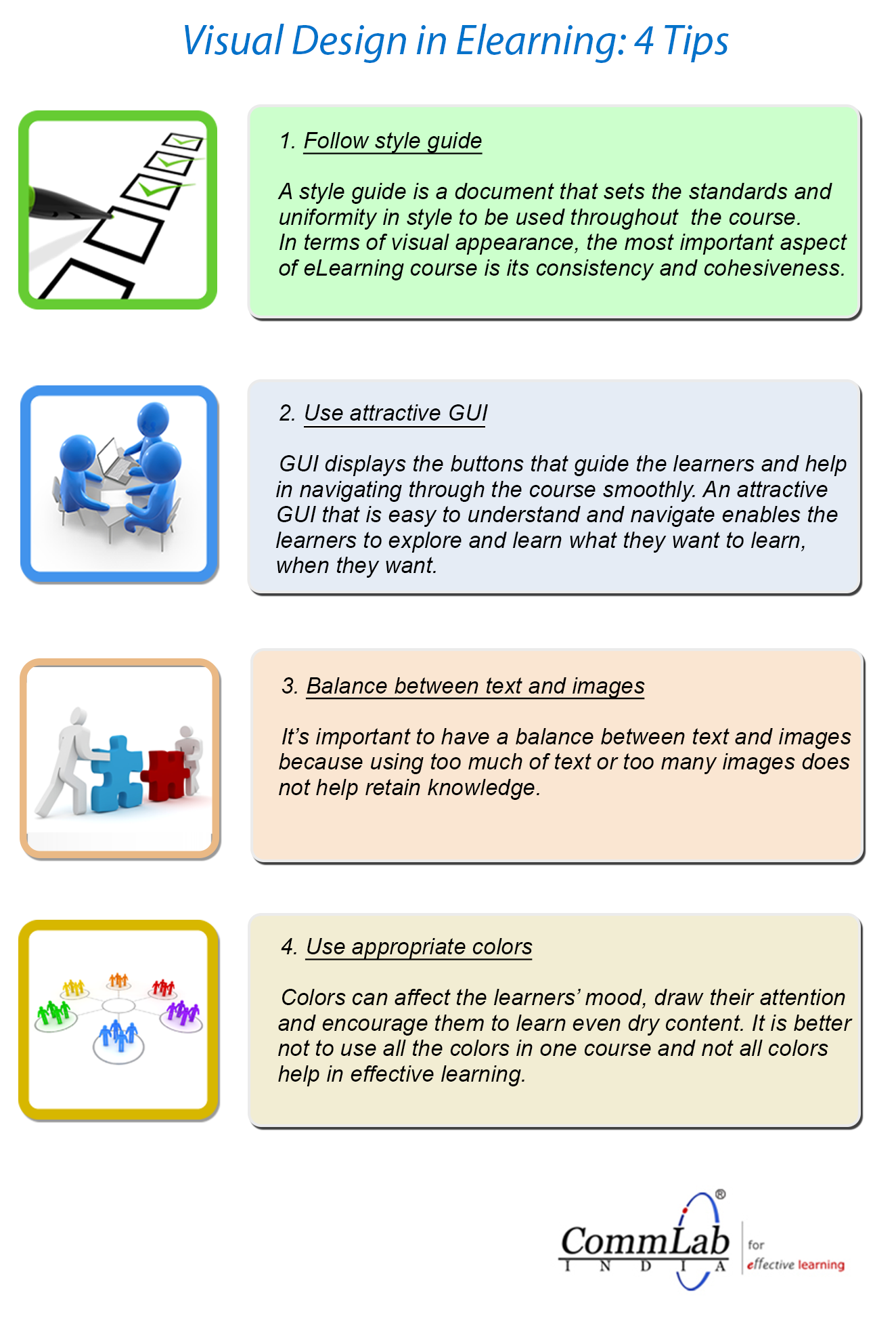 4 Tips to Get the Visual Design of Your E-learning Course Right – An Infographic