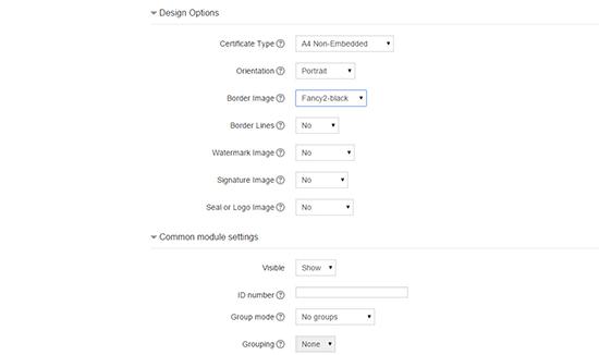 Certificate Design Options