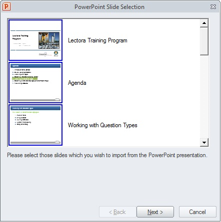 click Next to import the PowerPoint presentation