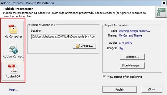 Adobe Presenter supports audio, video and all types of animations