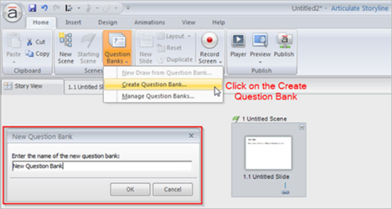 create the new question bank
