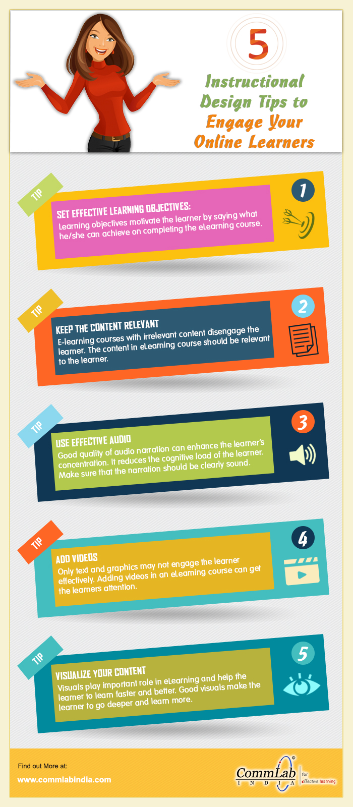 5 Instructional Design Tips to Engage Online Learners - An Info-graphic