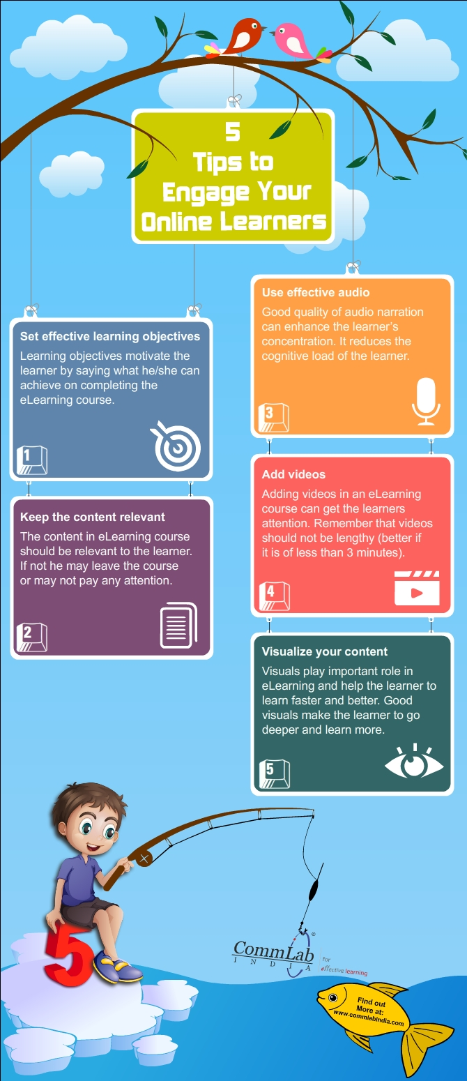 5 Tips to Engage Your Online Learners- An Infographic