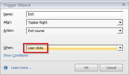 User clicks option