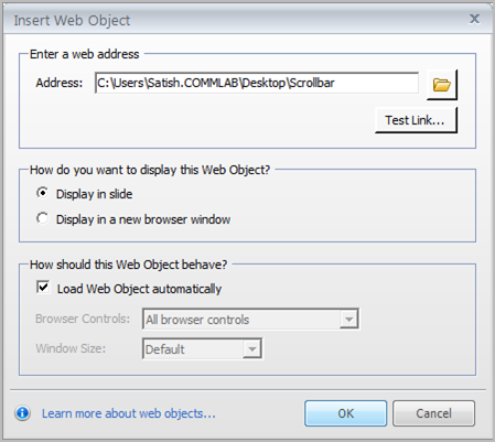 Step4 - Insert web object