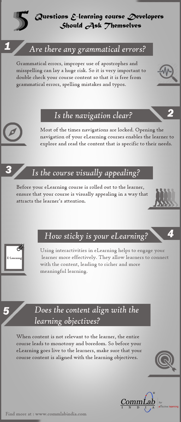 5 Questions E-learning Courses Developers Should Ask Themselves - An Infographic