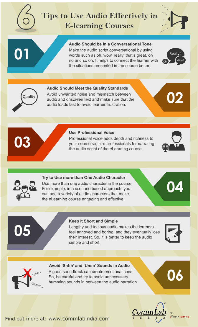 6 Tips to Use Audio Effectively in E-Learning Courses – An Infographic