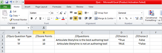 Articulate Storyline: Importing Final Quiz Questions from MS-Excel