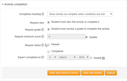 Course Activity Settings
