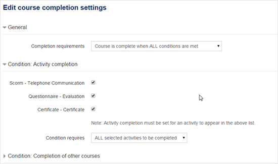 Course completion settings