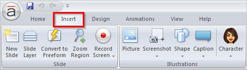 Click insert tab