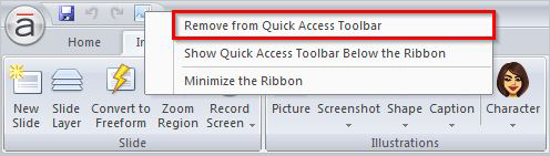 Select remove from quick access toolbar