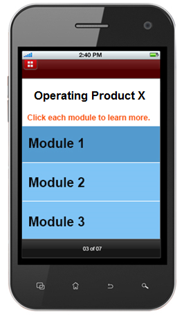 Short learning modules with 6 to 7 screens