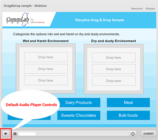 Default audio player controls