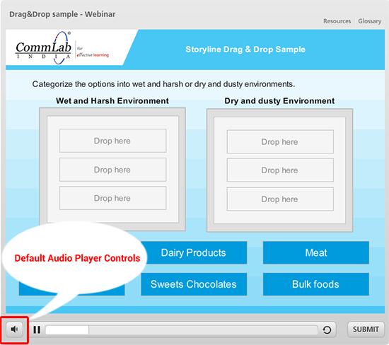 Default audio player controls