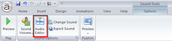 Audio Editor Button