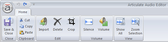 Audio Editor's Home Tab
