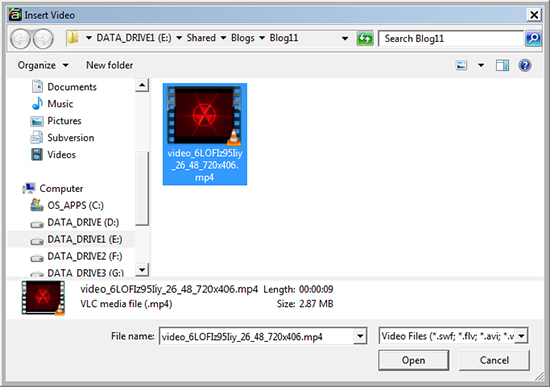 Select the path and import the video file