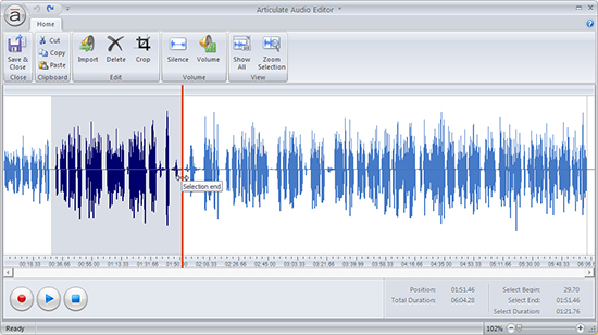 Selection of Audio in Audio Editor