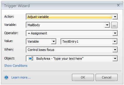 Focus on text entry fields