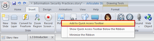 Adding icons to the Quick Access toolbar