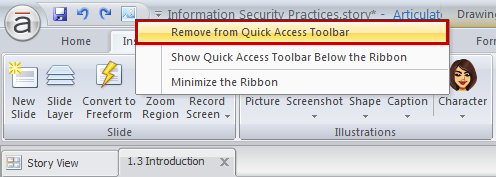 Removing icons from the Quick Access toolbar