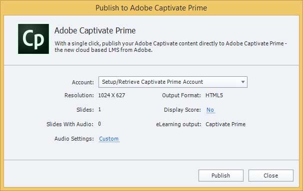Publish to Adobe Captivate Prime