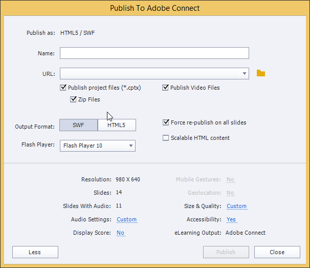 Publish to Adobe Connect