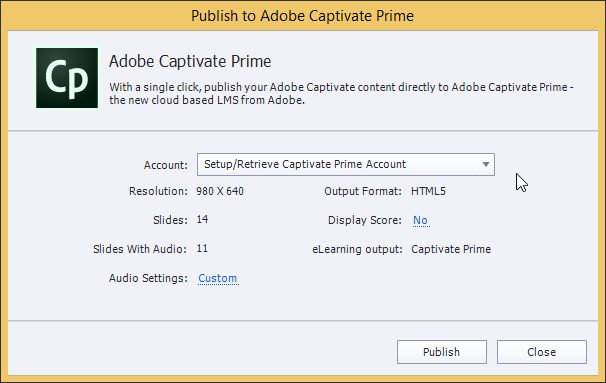 Publish to Adobe Captivate Prime