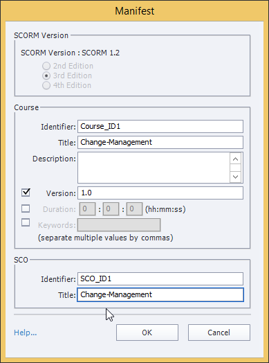 The Configure button to set the manifest file