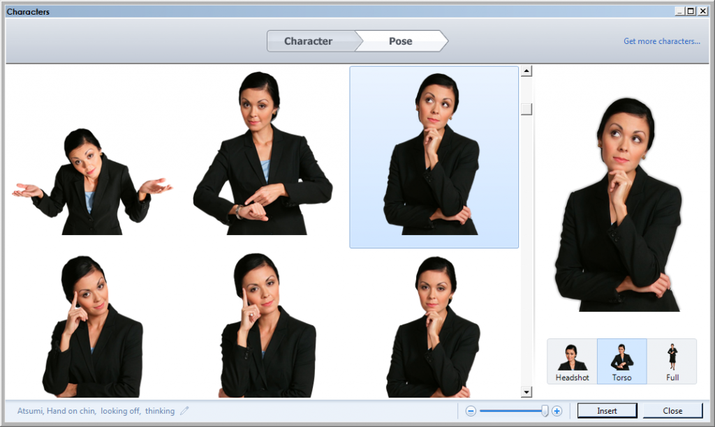 Different poses and expression of real people in Articulate Storyline