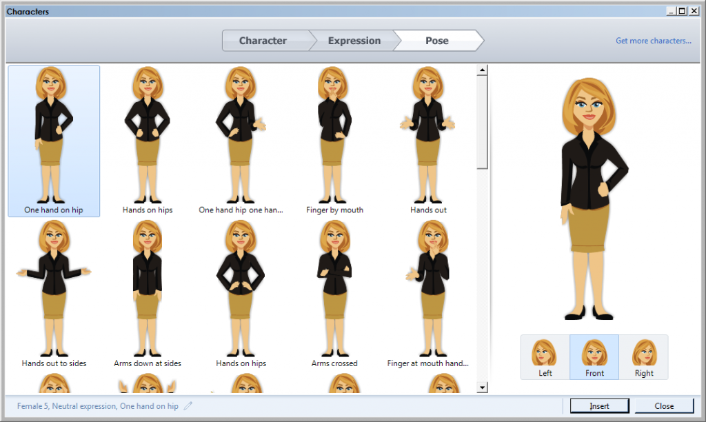 Different poses of illustrated characters in Articulate Storyline