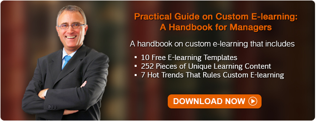 Download our free e-book ' Practical Guide on Custom E-learning: A Handbook for Manager'