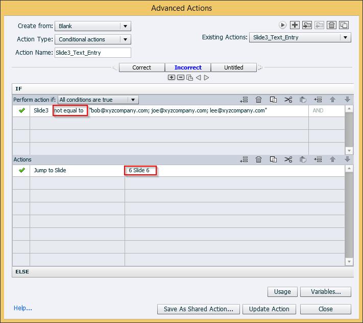 Check the Action Button Condition for InCorrect Feedback