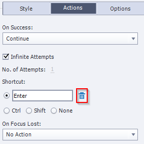 Delete the Shortcut from Action Panel
