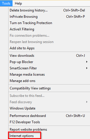 From the Tools menu, select Internet Options